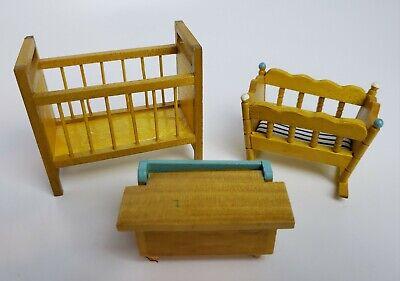 Vintage Dollhouse Miniature Wood Furniture Nursery Yellow Crib Bassinet Toybox