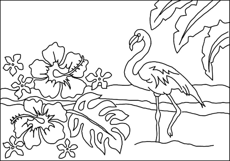 "Rug Hooking Pattern ""FLAMINGO""  on natural linen"