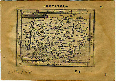 1609 Genuine Antique miniature map SE France. Avignon. Rhone. by A. Ortelius