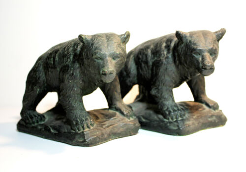Antique Pair KBW ART BRONZE Grizzly BROWN BEAR Bookends Clad Sculpture Kathodian