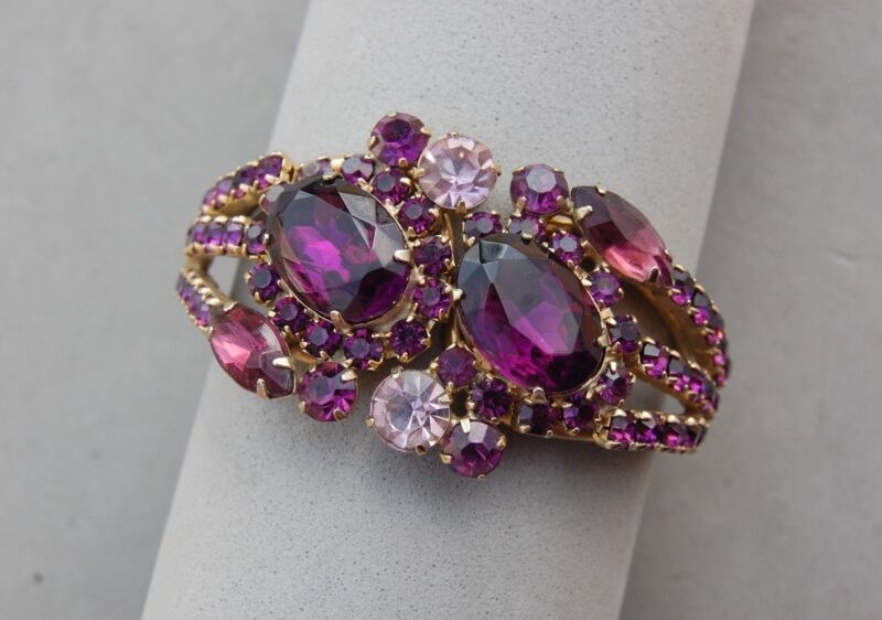 Julianna DeLizza & Elster D&E Rhinestone Clamper Bracelet Purple Gold Vintage