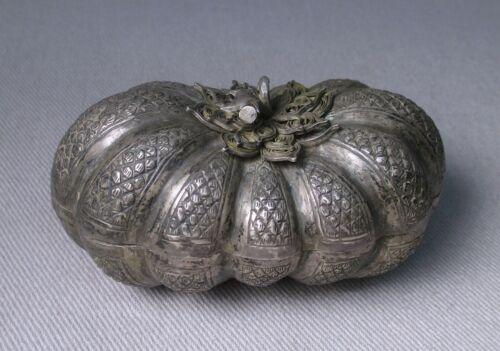 Antique Cambodian Silver Elongated Gourd / Melon Shape Betel Box