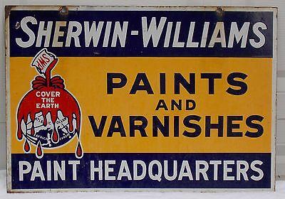 2 Sided Metal Sign Porcelain Sherwin Williams Auto Paint Varnish Original