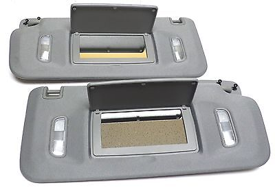 2007-18 Escalade Silverado Sierra Tahoe Gray Sunvisor Set w/ LED Lighted Mirror