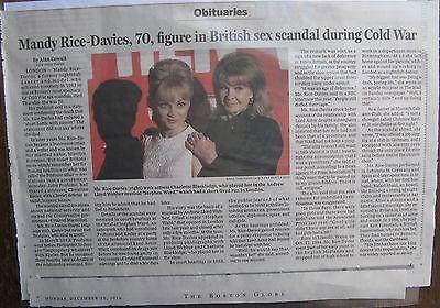 Obituary Boston Globe 12 22 2014 Mandy Rice Davies 70   Profumo Affair  Britain