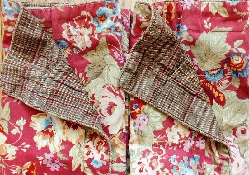 Ralph Lauren CHAPS Summerton 2 Floral & Plaid Pillow KING Shams EUC