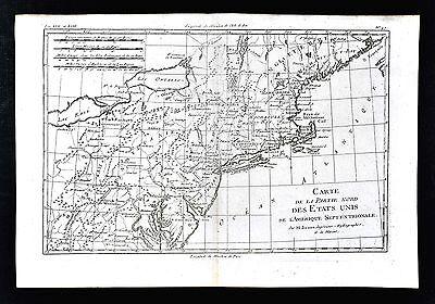1779 Bonne Map - New England Massachusetts New York Pennsylvania United States