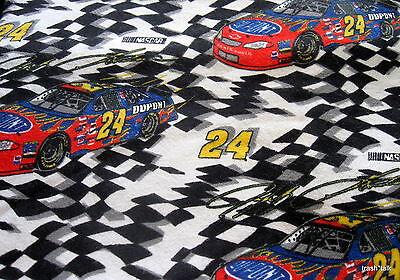 Flannel Racecar Nascar Dupont   24 Motor Sports Fabric Bthy Half Yard Cut
