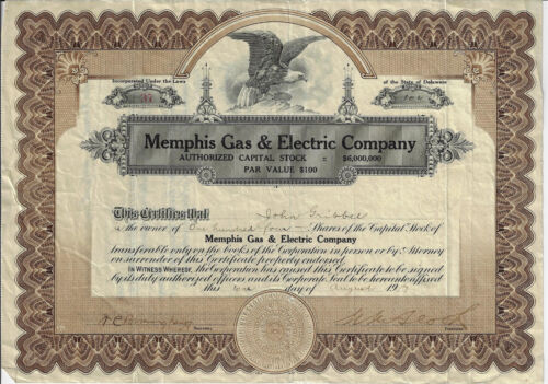 TENNESSEE 1917 Memphis Gas & Electric Company Stock Certificate #37