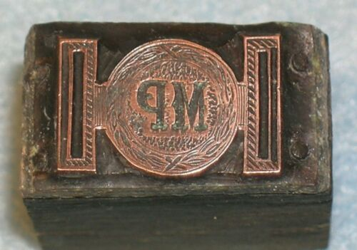Antique MP METROPOLITAN POLICE BELT BUCKLE #1 Printing Block * MC Lilley Catalog