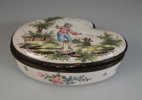Antique 18th c French Veuve Perrin Enamel Snuff Trinket Box  -   55395