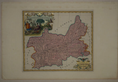 1737 Genuine Antique map China Province, de Koei-Tcheou, exquisite. by D