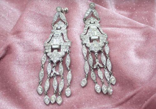 Vintage Art Deco Silver Rhinestone Long Five Strand Dangle Pot Metal Earrings