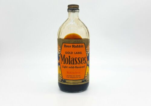 Vintage 1940s Brer Rabbit Gold Label Molasses Bottle w/ Great Graphics