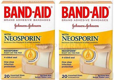 (Band-Aid Plus Antibiotic Adhesive Bandages Assorted Sizes 20 ct  ( 2 boxes ))
