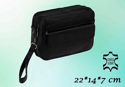 Herren Tasche Handgelenktasche Handtasche Leder Schwarz 22 * 14 * 7 cm   online kaufen