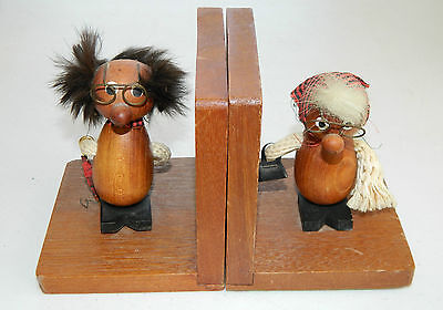 Vintage Hand Made old man & woman Solid Wood bookends Rope Hair Walnut Teak