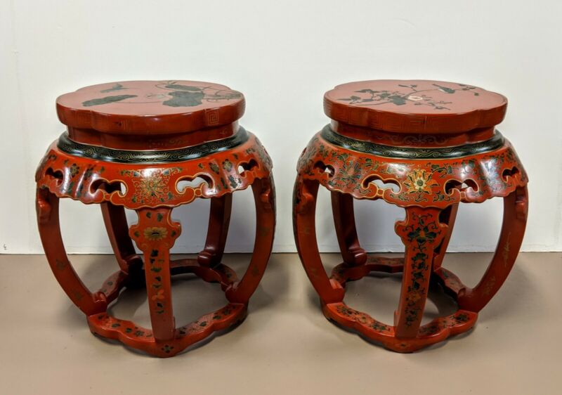 Pair Chinese Red Lacquered Enamel Painted Stools Chairs w/ Glass tops