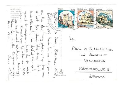 ITALY to SEYCHELLES - 1986 Postcard of ROME to VICTORIA
