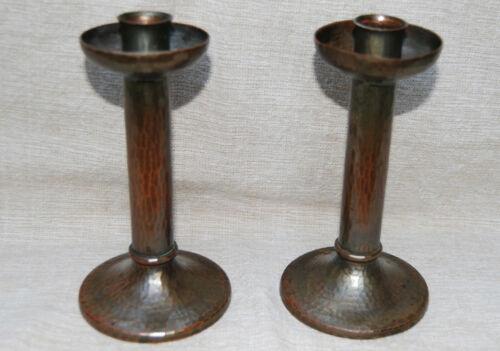 Roycroft Attr Hammered Copper Pair Candlesticks Unmarked