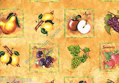 Tuscany Fruits Grapes Apple Vinyl Laminate Contact Paper Shelf Liner Peel Stick