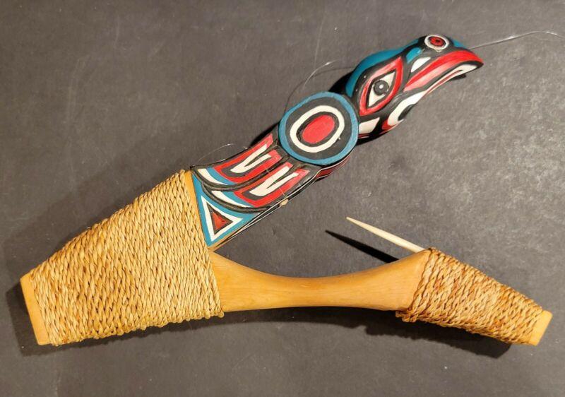 Haida Tlinget Carved Wood Halibut Fish Hook Raven Northwest Coastal Signed
