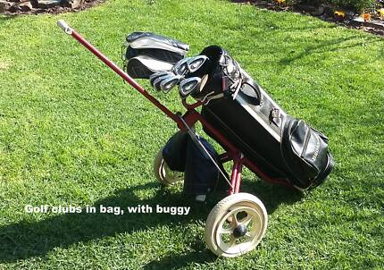 Golf clubs, bag and folding buggy