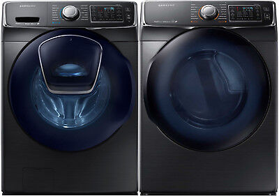 Samsung Black Stainless Front Load Washer Electric Dryer WF4