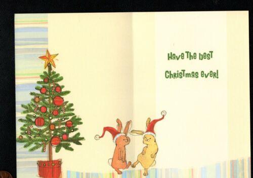 Christmas Bunny Rabbit Santa Hat - (CUTE INSIDE) - Greeting Card - W/ TRACKING