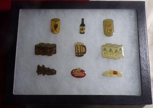 """9 Vintage Enamel BEER Pins COORS MILLER PEARL in RIKER 6"""" x 8 """" Display Case!!!"""
