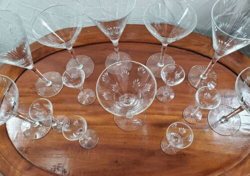Antique Etched Glass Stemware Set with Notched Stem