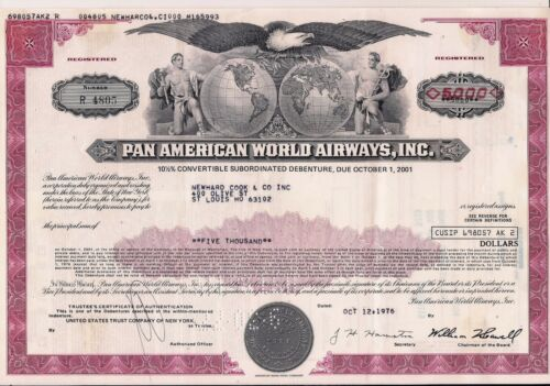 Pan American World Airways $ bond Pan Am