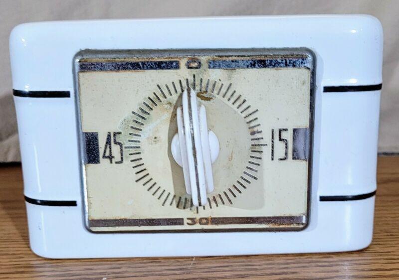 Vintage 1951 LUX Clock Mfg Ceramic Kitchen Range Stove Oven Timer WORKS