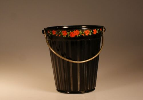 Vintage Deco Black Glass Ribbed Ice Bucket with Floral Edging c.1930