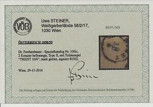1858 2kr, HELLORANGE! Dr.Ferch:340,-€! Schöne Farbe! TRIEST Stempel. VÖB - Eberau, Österreich - Money back. - Eberau, Österreich