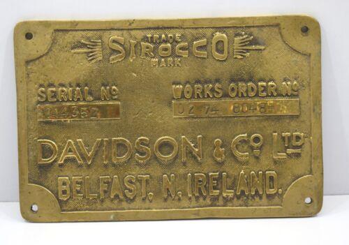 Trade Sirocco Mark Davidon&co ltd Marine Ship Antique Vintage Brass Plate Plaque