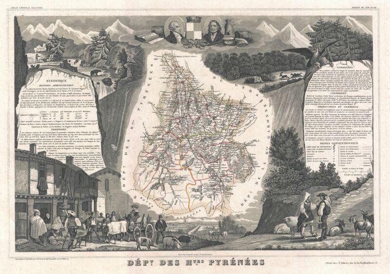 1852 Levasseur Map of the Department Des Hautes Pyrenees, France