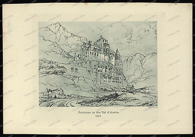 Druck-Stahlstich-Engraving-Fortress-in-the-Val-d-Aosta-1835-52