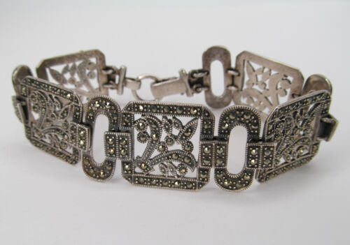 Antique, Sterling Bracelet with Marcasite Stones - Beautiful Condition