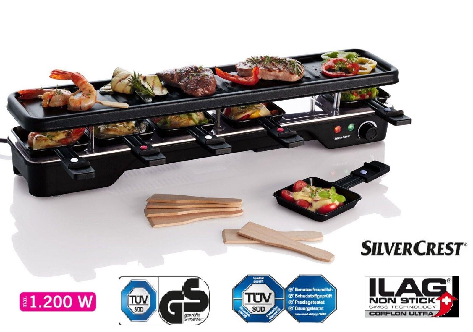 SILVERCREST Raclette Grill 6 Personen Tischgrill Grill-platte 1200 Watt Neu OVP