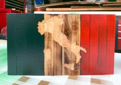 Rustic Italian wooden flag 8.5 x 5