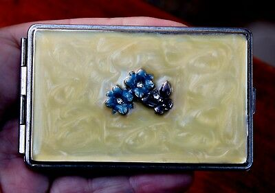 Beautiful 1970's Woman's Enamel Flower & Butterfly Business Card Holder