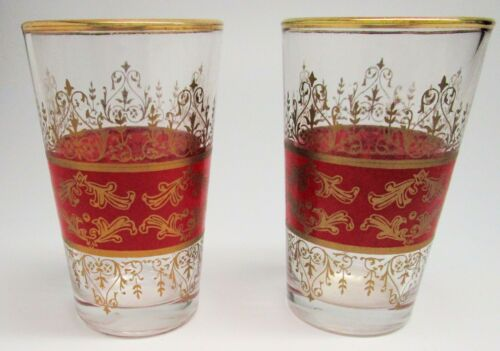 """Set of Two Pretty Red and Gold Drinking Glasses, 3 & 1/2"""" tall"""