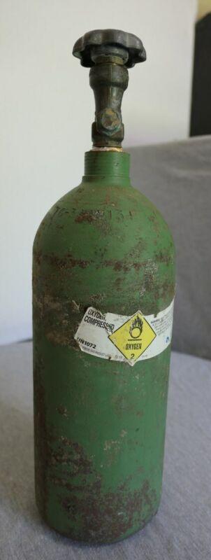 "Matheson Oxygen Compressed Gas Welding Cylinder Tank Bottle DOT 3AA-2015 17.5"" H"