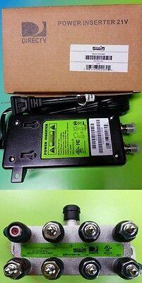 DIRECTV 21V POWER INSERTER SUPPLY + 8-WAY SPLITTER GREEN LABEL PI21R2 SWM 8 16