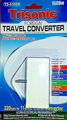 Foreign Travel Converter 1600 W Watt Voltage Step Down Power Adapter 220 to 110 1600 Watt Travel Converter