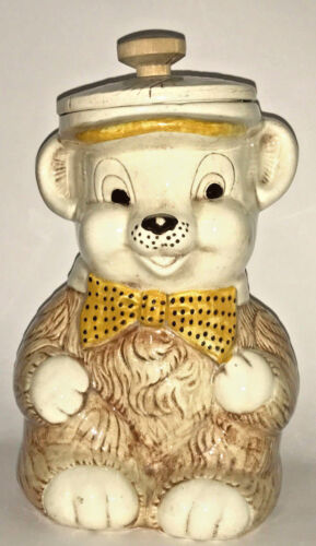 Vintage Treasure Craft Teddy Bear Ceramic Cookie Jar Wood Knob Canister ADORABLE