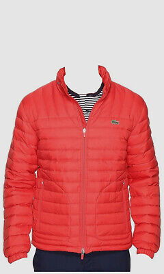 $365 Lacoste Men's Red Full Zip Hooded Packable Puffer Down Jacket Coat Size 2XL