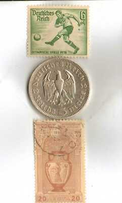 -*GREECE-1896-Olympic Stamp+1936-*german Olympic Stamp+SILVER-.900% coin