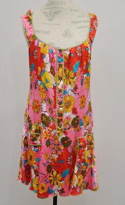Floral Drop Waist Dress - Free People Women's Floral Silk Drop Waist Sleeveless Dress Size 12 boho